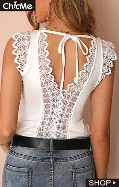 Women Fashion Sleeveless Lace Stitching Top - - Women Fashion Sleeveless Lace Stitching Top Source by Creation Couture, Womens Fashion Online, Lace Tops, Diy Clothes, Casual Chic, Blouse Designs, Ideias Fashion, Casual Outfits, Fashion Dresses