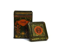 Art Deco Tea Caddy.  Lithographed  Tin. French Kitchen Canister.