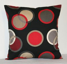 Black Red Gray and Tan 18 inch Decorative Pillows by PatsTable, $18.00