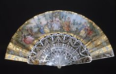 Victorian fan with beautiful mother of pearl tempera on paper, ca 1850