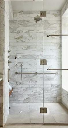 glass shower enclosure with U-channel and frameless door, marble shower, white bathroom. Beautiful design ideas design decorating before and after interior design Bathroom Renos, White Bathroom, Bathroom Interior, Small Bathroom, Bathroom Marble, Marble Tiles, Bathroom Art, Master Bathroom, Shower Bathroom