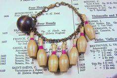 Vintage Bowling pin & ball charm bracelet