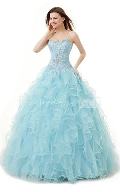 Sweetheart Light Blue Sequin Ball Gown Sweet 16 Dress With Ruffles and Sequins, Princesses Sweet 16 Dress #long #lightblue #sequin