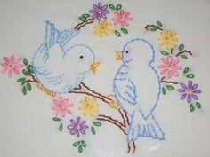 Blue birds for Andrea - stem stitch, lazy daisy, back stitch, tiny bit of satin stitch, french knots Baby Embroidery, Hand Embroidery Stitches, Hand Embroidery Designs, Vintage Embroidery, Cross Stitch Embroidery, Machine Embroidery, Crazy Quilting, Cross Stitching, Needlework