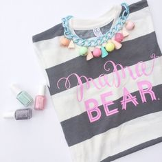 """New """"Mama Bear"""" Unisex Fit Stripe Tee w/ Chalky Pink Ink – LOVED BY HANNAH AND ELI"""