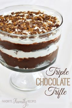The last time we made this triple chocolate trifle it was literally polished within minutes. I am not kidding-- the bowl was practically licked clean.