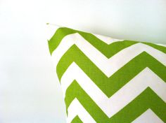 Chartreuse Green Chevron Pillow Covers!!  20 x 20 One by PillowStyles on Etsy, $19.00