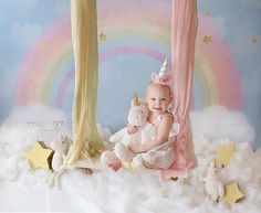 Create magical fairy tale photos with the Pastel Rainbow photography backdrop! This background is so cute for unicorn birthday portraits or spring photo sessions. Image shown is a x backdrop. In use image be Nancy Berger Photography. Rainbow Photography, Background For Photography, Photography Backdrops, Kids Fashion Photography, Rainbow Birthday, Unicorn Birthday Parties, Unicorn Party, Rainbow Unicorn, 1st Birthday Photoshoot