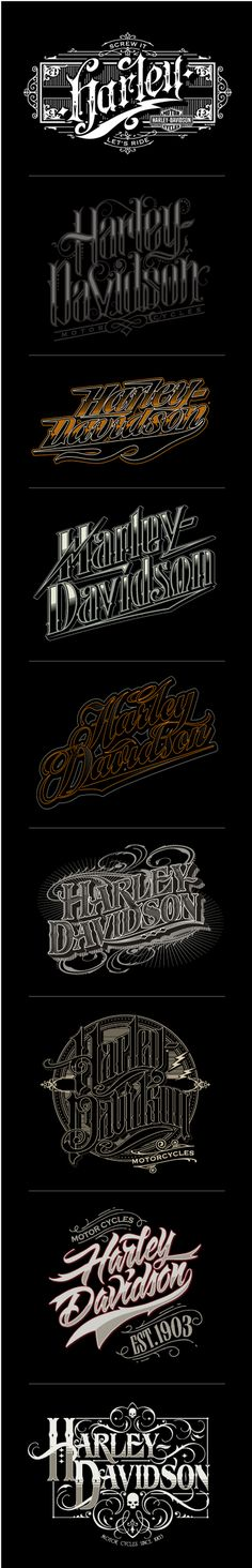 Harley Davidson hand and custom lettering