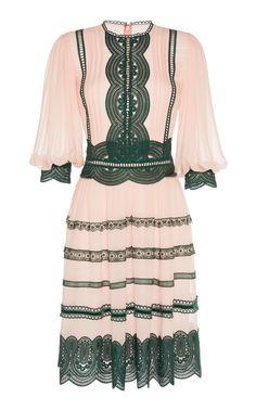 Costarellos Silk Chiffon And Lace Trim Midi Dress Fresh Outfits, Chic Outfits, Pretty Outfits, Pretty Dresses, Hollister Style, Short Dresses, Girls Dresses, Kurta Designs, Dress To Impress