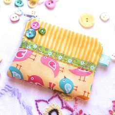 Coin purse – 'Sweet Tweet' - Yellow, pink - FREE UK PP £4.95