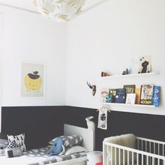 love that the lower half of the walls are painted black... and the narrow shelves filled with books! (Instagram - apieceofcake82)