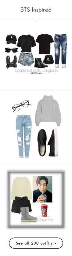 """""""BTS Inspired"""" by tylaticklemouse ❤ liked on Polyvore featuring T By Alexander Wang, Dsquared2, Topshop, Iris & Ink, RE/DONE, Uniqlo, UGG, INDIE HAIR, kpop and bts"""