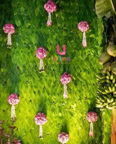Traditional decoration Betel leaves backdrop with floral tassles. Wedding Hall Decorations, Marriage Decoration, Engagement Decorations, Backdrop Decorations, Flower Decorations, Decor Wedding, Backdrops, Diwali Decorations, Wedding Themes