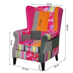 Patchwork Chair is also a good decoration for any interior setting like bedroom, lounge, hallway and living room. The combination of different colours is suitable for many decor styles and would give your space a bright atmosphere. | eBay!