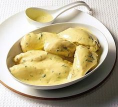 Poached chicken with lemon & tarragon sauce