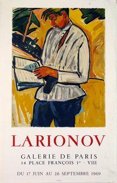 Affiche  Larionov  Mikhael  Galerie de Paris  Juin Septembre 1969
