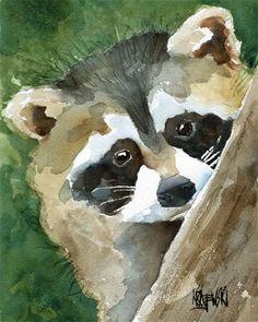 RACCOON Art Print of Original Watercolor Painting by dogartstudio, $12.50