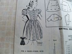 1953 Size 8 MailOrder Sew Rite Pattern 8862 Girls Waist Dress Sewing Pattern Scalloped Bodice Frily Collar Supply Unprinted Puff Sleeves FF by CarolinaJayPatterns on Etsy