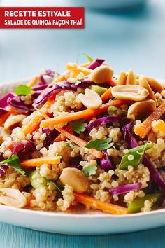 Thai Quinoa Salad--Cook With Campbells--Very, very bland. Made with spaghetti instead of couscous. Needs lots of spice added. Healthy Vegetable Recipes, Quinoa Salad Recipes, Campbells Recipes, Quinoa Salat, Asian Recipes, Ethnic Recipes, Carne, Entrees, Healthy Eating