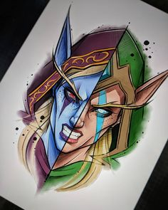 Sylvanas and Aleeria Warcraft Art, World Of Warcraft, Blizzard Warcraft, Sylvanas Windrunner, Arte Sci Fi, Monster Under The Bed, Wow Art, Environment Concept Art, Black And Grey Tattoos