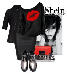 """""""Black Slim PU Skirt by SheIn 1"""" by elliegabs ❤ liked on Polyvore featuring Splendid and Kate Spade"""