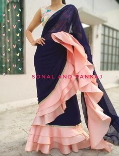 Ready To Wear Navy Blue & Peach Saree - – Sonal & Pankaj Sari Design, Mode Bollywood, Bollywood Fashion, Bollywood Saree, Indian Dresses, Indian Outfits, Peach Saree, White Saree, Navy Blue Saree