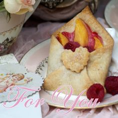 A Little Loveliness: Special Delivery Tea Party -  1 refrigerated pie crust  Peach slices (about four)  Raspberries  1/8 teaspoon flour  1/4 teaspoon sugar  Sugar sprinkles  You can get four tarts from one refrigerated pie crust. Simply cut the circle into four equal pie-shaped sections. (Or cut one segment to make one tart, and reserve the rest of the dough.)