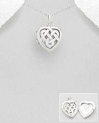 sterling silver locket heart celtic  pendant