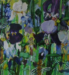 Iris Dusk by caroline havers, acrylics. The colours and abstract shapes are breathtaking! I love how busy it is. Landscape Art, Landscape Paintings, Landscapes, Iris Painting, Abstract Flowers, Abstract Shapes, Encaustic Art, Dream Art, Art Moderne
