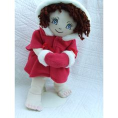 "Cuddly 18"" Rag Doll In Red Winter Coat Red Winter Coat, Build A Bear, Rag Dolls, Stuffed Animals, Smurfs, Elsa, 18th, Hair Color, Teddy Bear"