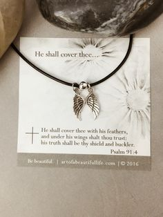 Christian Necklace - Psalm 91:4 Christian Bible Verse Necklace | He Shall Cover Thee | Christian Jewelry, Bible Verse for Protection Jewelry | https://www.etsy.com/listing/277714508/christian-necklace-psalm-914-christian