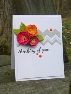 Colourful flowers with neutral zigzag die cuts