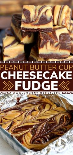 Calling all chocolate and peanut butter lovers! Time to get in the kitchen to try this holiday dessert idea. You don't want to miss the creamiest, most delectable, extra decadent cheesecake fudge of your life! Make a batch of this simple candy recipe for Christmas! Peanut Butter Cup Cheesecake, Reeses Peanut Butter, Chocolate Cheesecake, Chocolate Tarts, Chocolate Fudge, Chocolate Desserts, Microwave Fudge, Salted Caramel Fudge, Salted Caramels
