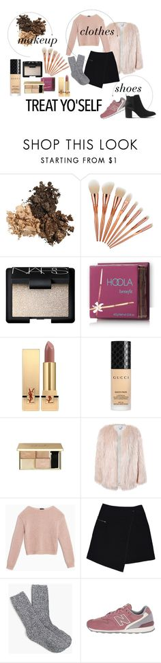 """treat yo self"" by fashionlimitededition ❤ liked on Polyvore featuring NARS Cosmetics, Hoola, Yves Saint Laurent, Gucci, Sans Souci, Max&Co., MARC CAIN, J.Crew, New Balance Classics and Office"