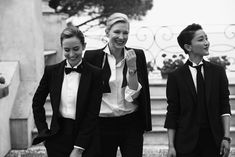 Emily Blunt & Cate Blanchett by Peter Lindbergh Cate Blanchett, Emily Blunt, Business Outfit Frau, Estilo Tomboy, Fete Halloween, Classic Suit, Peter Lindbergh, Marlene Dietrich, Suit And Tie