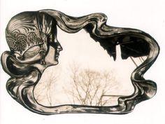 Art Nouveau Sculpture Mirror C 1900 Art Deco Vanity, Jugendstil Design, Vintage Mirrors, Art Nouveau Design, Mirror Art, Mermaid Art, Arts And Crafts Movement, Art Forms, Graphic Art
