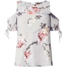 Dorothy Perkins Grey Floral Ruched Cold Shoulder Top ($39) ❤ liked on Polyvore featuring tops, grey, ruching tops, open shoulder top, gray top, flower print top and floral print tops