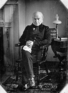 John Quincy Adams  Took Office - March 4, 1825  Left Office - March 4, 1829. The sixth president, democratic-republic party. His vice president was John C. Calhoun.  ***fun fact, this was the first real photograph of a president***