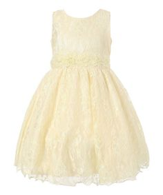 Yellow Floral Lace A-Line Dress - Girls #zulily #zulilyfinds