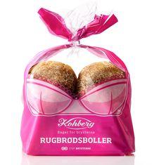 Este es el original empaque de Kohberg, una marca de pan en Dinamarca que innovó en su imagen para patrocinar el evento más importante de la Sociedad Danesa de Cáncer. El diseño fue realizado por Envision.