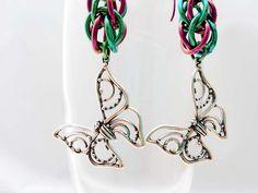 Sterling Silver Butterfly Earrings  Niobium by LittleCoveCreations, $48.00