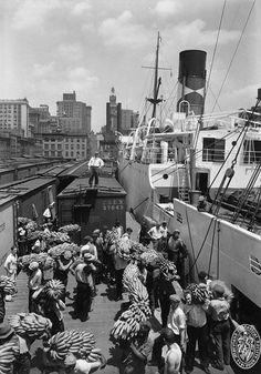 Unloading Bananas at Pier 1 on Pratt Street