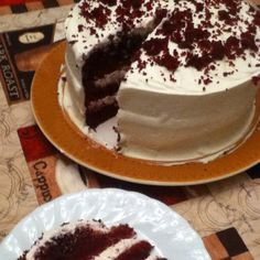 New York Times Red Velvet Cake.  I love this recipe it calls for 1/2 cup cocoa- imparting TONS of flavor.  Other red velvet recipes seem tasteless in comparison