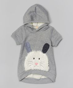 Gray Bunny Hoodie - Toddler & Girls