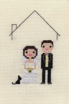 Custom Cross Stitch Pixel Wedding Portrait (Framed). $32.00, via Etsy.