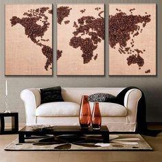 Creative Coffee Bean World Map! 3pcs