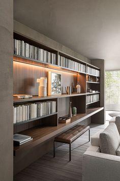 Home Library Design, Office Interior Design, Office Interiors, Modern Interior, Interior Architecture, Living Room Designs, Living Spaces, Shelf Design, Interior Inspiration