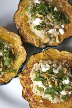 Stuffed Acorn Squash:  Feta Cheese  Cilantro  Quinoa or Brown Rice  Chopped Pistachio Meats