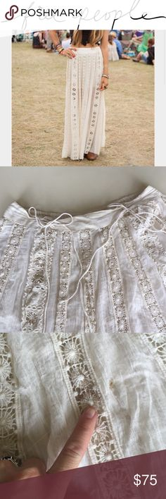 """Free People FP ONE boho festival lace fringe skirt There's a brown mark on the front. I've never tried to remove I and 'be only worn this to the Renaissance festival. It's breathtaking. It's 30"""" at the waist not stretched, I think it should fit a large more than a medium. Tons of bunched up gorgeous fabric! 3' long, offers welcome only by using the offer button! Thanks ladies'! 🚫 trades Free People Skirts Maxi"""